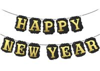 Happy New Year Black and Gold Banner for Your New Years Eve NYE Party Decoration