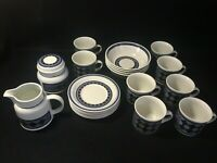 "ROYAL DOULTON Blue/White ""Tangier"" Stoneware Bowls/Cups/Saucers  1974-1982"