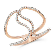 18K Rose White Or Yellow Gold Pave Diamond Wide Cocktail Right Hand Band Ring