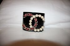 CHANEL 2017 LOGO CUFF BRACELET BLACK GOLD RED LEATHER PEARL - GREAT CONDITION