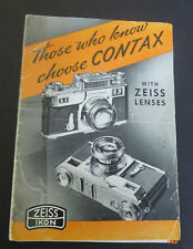 Vintage Photography Zeiss Ikon Contax Camera Lenses & Accessories Booklet