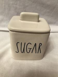 """Rae Dunn """"SUGAR"""" White Sugar Bowl With Lid Black LL"""