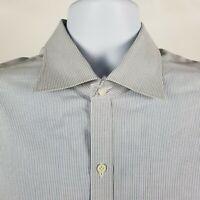 Isaia Napoli Mens Gray Blue White Striped Dress Button Shirt Sz 17/43 Italy