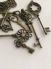 12pcs Antique bronze metal key charms pendants steampunk mixed vintage style