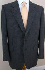 Canali Blazer 40R Black White Tweed 100% Wool 2 Buttons Made Italy Mens