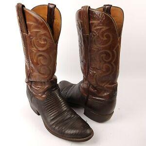 Men's Lucchese 1883 Classics Lizard Skin Black Cherry Boots Size 8
