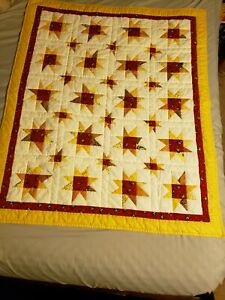 Patchwork Quilt Handmade Lap/Baby Size Star Red, Yellow, White, Cotton Fabrics.