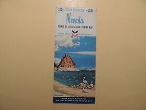 Nevada Points of Interest & Touring Map 1964 State Centennial Chevron Standard