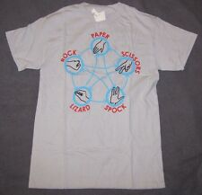 MENS T-SHIRT SMALL THE BIG BANG THEORY ROCK PAPER SCISSORS LIZARD SPOCK GRAPHIC!