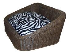 Rattan Dog Basket, Cat Lounge, Pet Bed, UltraThick Cushion - Zebra 80x54x60cm