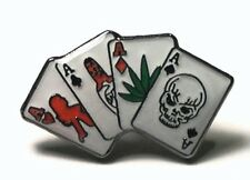 Metal Enamel Pin Badge Brooch Four 4 Aces Cards Poker Player Gamble Skull