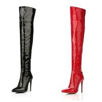 Women's High Stiletto Heel Pointed Shoes Pole Dance Over Knee Boots UK Size O005