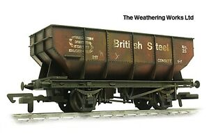 Dapol 21t BR British Steel mineral / coal hopper wagon *PRO WEATHERED LOOK*