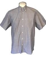 Lacoste Men's Casual Shirt Blue Grey 41 Large 100% Cotton S/S