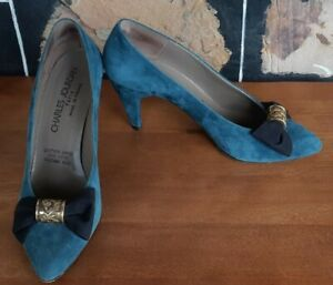 Suede Court Shoe, Sea Blue, by 'Charles Jourdan' of France, size 8b