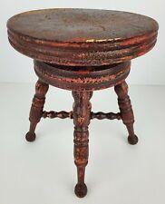 Antique Mini Wooden Piano Stool Chair Salesman Sample Adjustable Ball Feet Dolls