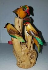 """Vintage Carved Painted 6 Birds Perched in Tree Folk Art Sculpture 6 1/2"""" Tall"""