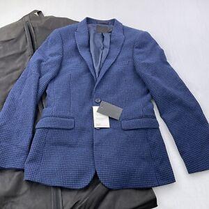 """Men's ASOS Design Super Skinny Suit Jacket US 38"""" Chest Short Blue Houndstooth"""