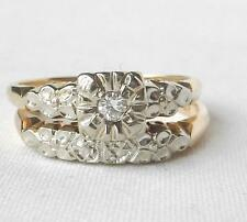 Vintage 14K Gold Art Deco 2-Pc Diamond Engagement Wedding Ring Band Bridal Set