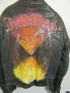 VINTAGE 70's MASCOT LEATHER MOTORCYCLE JACKET SIZE XS POGUES PUNK PAINTED CLIX