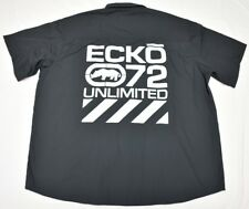 $50 NWT NEW Mens Ecko Unltd Button Down Shirt Logo Woven Black Urban 4XB 4X N736
