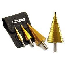 AB TOOLS TE123TE859 Step Cone Drill Bit Set - 4 Pack