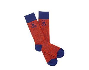 Psycho Bunny Geometric Pattern Bonfire/Blue Men's Socks B6F131Q1PB-BNF One Size