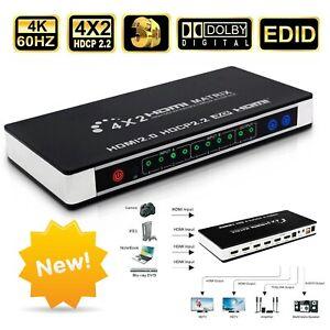 HDMI 2.0 Matrix Switch Splitter 4X2 4in2 4K60 EDID  Umschalter Verteiler