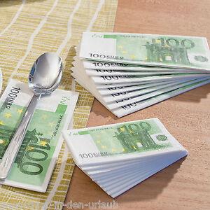 Tischdekoration Servietten 100 Euro Scheine Serviette Papierservietten NEU