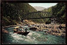 vintage boat Hozu Rapids Arashimaya Japan landscape postcard