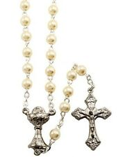 NEW MADE IN ITALY FAUX PEARL & SILVER CHALICE FIRST COMMUNION ROSARY & POUCH