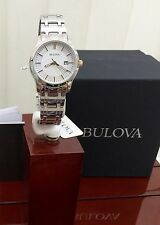 BULOVA DONNA ARGENTO DRESS WATCH GOLD MANI data Rrp £ 210 regalo ideale per la sua