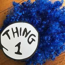 THING 1 or THING 2 - COSTUME  - WIG and IRON ON TRANSFER  (15cm x 14cm)