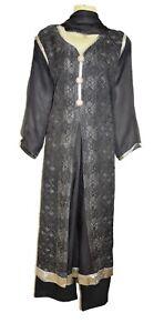 Grey Anarkali Diamante Dress Kurta Shalwar Kameez Trouser Suit Pakistan peplum