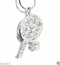 Tennis Racket Ball Made With Swarovski Crystal Racquet Player Pendant Necklace