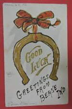 ANTIQUE POSTCARD-GOOD LUCK-GREETINGS FROM BERNE INDIANA-GLITTER-HORSESHOE