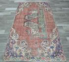 Turkish Vintage Wool Rug Anatolian Lion Motif Traditional Ethnic Carpet 4x7 ft.