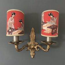 Oriental Toile - Handmade, Candle Clip Half Lampshade for Wall Lights