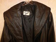 John Weitz 100% Genuine Leather Black Lined LongTrench Coat Women's Size - Small