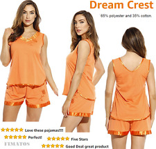 Women's Pajama Short Set with Satin Trim and Embroidery,Large,Orange,Dreamcrest