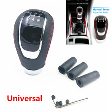 New 5 Speed PU Leather Manual Car Gear Shift Knob Shifter Stick Lever+3 Adapter