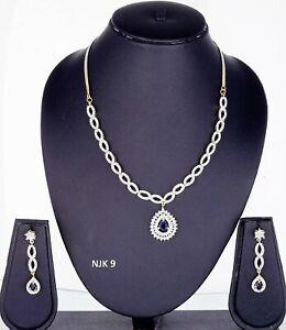 Indian Fashion American Diamond Jewelry Wedding Necklace Earrings Sets NJK 09