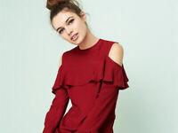 AVON Ladies Womens Cold Shoulder Ruffle Blouses Tops Size 14 16 18 20 22 24