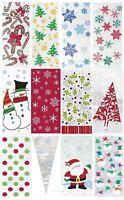 20 Christmas Cello Party Loot Bags Sweet Bag Santa Snowman Snowflake Cellophane