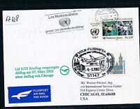 67628) LH FF Köln - Los Angeles USA 7.3.2002, Karte ab UNO Genf Slogan-Stpl TAB