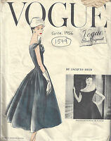 1956 Vintage VOGUE Sewing Pattern B34 DRESS & PETTICOAT (1579) By JACQUES HEIM
