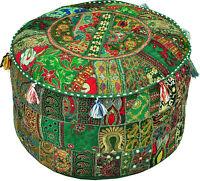 Green pouf Ottoman Bohemian Embroidered Footstool Decorative Tuffet bean bag