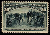 US #240 50c Columbian Slate Blue Unused OG (CV $425)