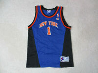 VINTAGE Champion New York Knicks Basketball Jersey Youth Large Blue Orange 90s *