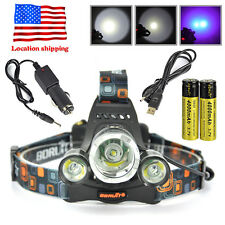 Rechargeable 11000lm 3xLED Headlamp USB Headlight Camping Torch 18650 Li-ion Kit
